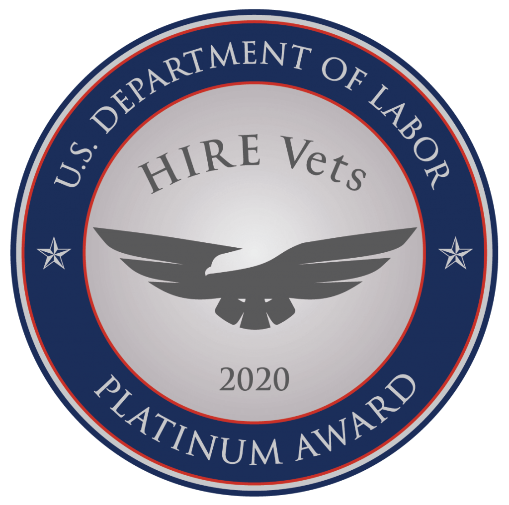U.S. Department of Labor HIRE Vets Platinum Award 2020