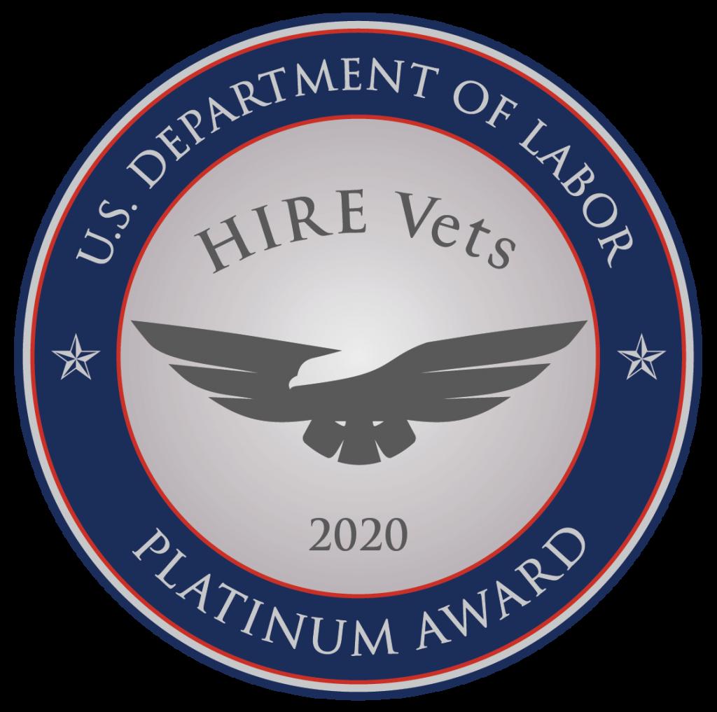 U.S. Department of Labor HIRE Vets Platinum Award 2020